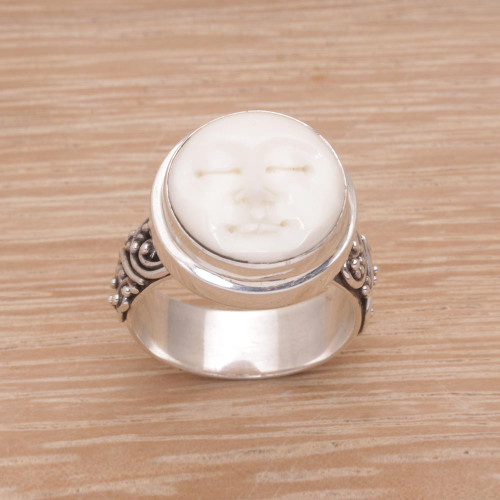 Hand Carved Bone and Sterling Silver Face Ring 'Serene Repose'