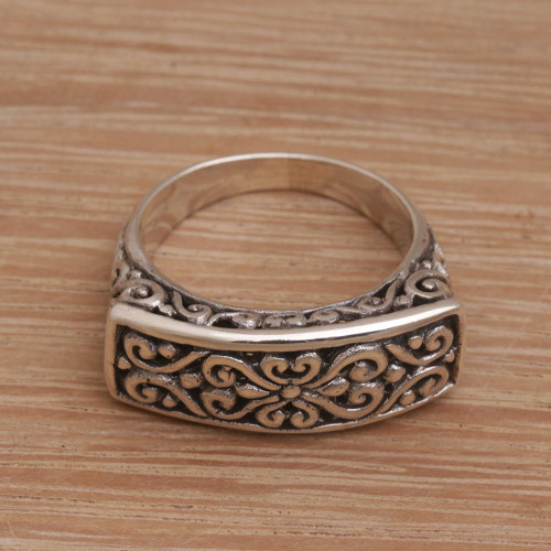 Sterling Silver Scrollwork Motif Cocktail Ring 'Ancient Signet'