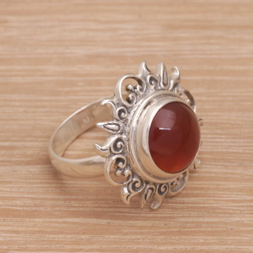 Sun Themed Carnelian and Sterling Silver Cocktail Ring 'Light Of The Universe'