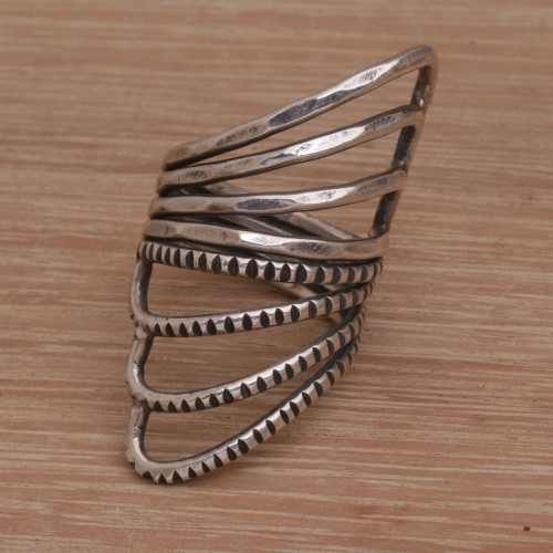 Wide Sterling Silver Cocktail Ring with Mixed Finish 'Opposing Forces'