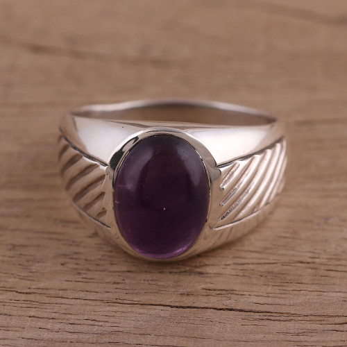 Handmade Amethyst and Sterling Silver Domed Ring 'Suave'