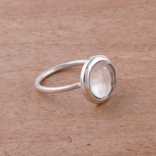 Clear Quartz and Silver Single Stone Ring from Peru 'Light Crystal'