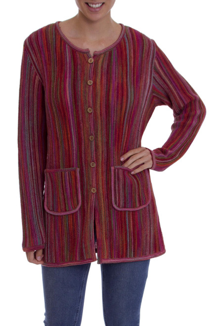 Multi-Color and Red Striped 100 Alpaca Knit Sweater Jacket 'Andean Fire'