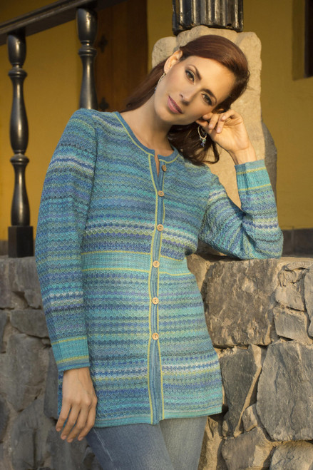 Striped Blue 100 Alpaca Knit Cardigan 'Texture Trove'