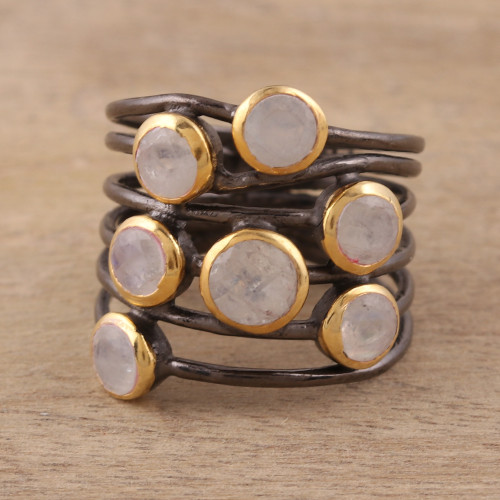 Gold Plated Sterling Silver Rainbow Moonstone Cocktail Ring 'Dewy Morn'