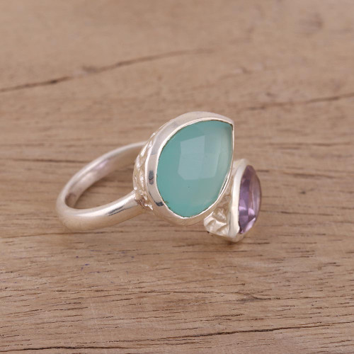 Blue Chalcedony and Amethyst Sterling Silver Wrap Ring 'Luminous Harmony'