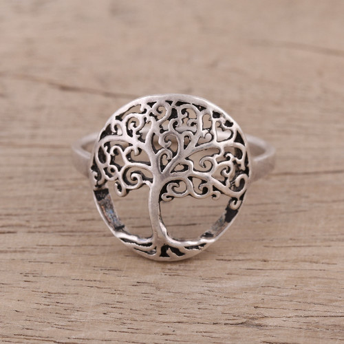 Indian Sterling Silver Cocktail Ring with Jali Tree Motif 'Majestic Jali Tree'