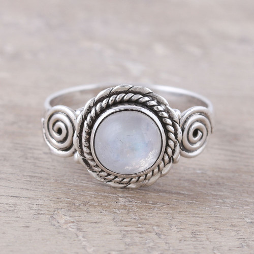 Indian Rainbow Moonstone and Sterling Silver Cocktail Ring 'Misty Bloom'