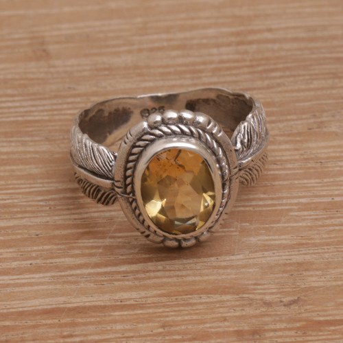 Handmade 925 Sterling Silver Citrine Feather Cocktail Ring 'Band of Feathers'