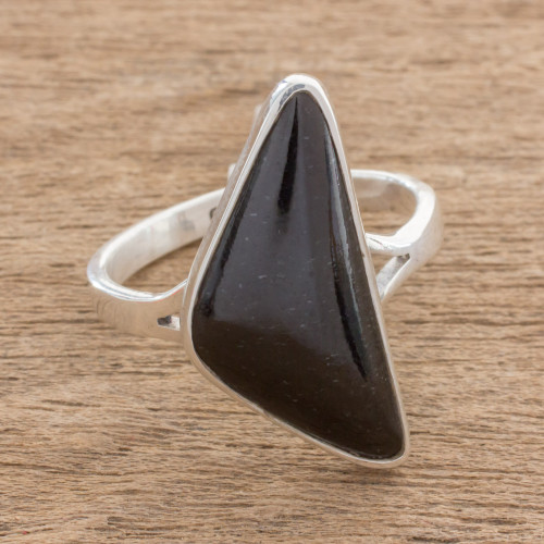 Triangular Black Jade Cocktail Ring from Guatemala 'Abstract Form in Black'