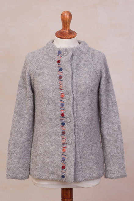 Grey Alpaca Blend Sweater Jacket from Peru 'Morning Muse in Grey'