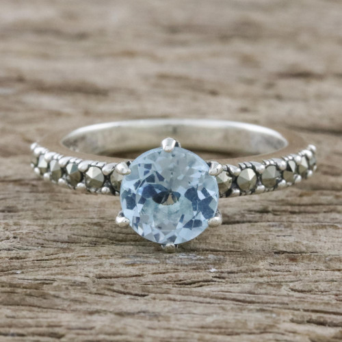 Solitaire Ring with Three-Carat Blue Topaz and Marcasite 'Victorian Soliloquy'