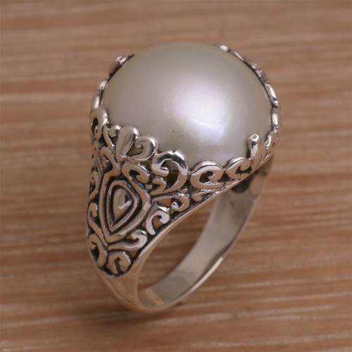 Cultured Mabe Pearl and Sterling Silver Domed Ring from Bali 'Palatial Dreams'