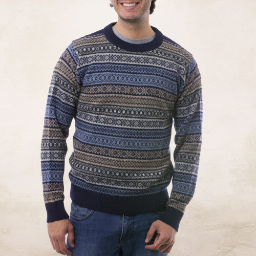 Men's Patterned Grey and Brown 100 Alpaca Pullover Sweater 'Monument'