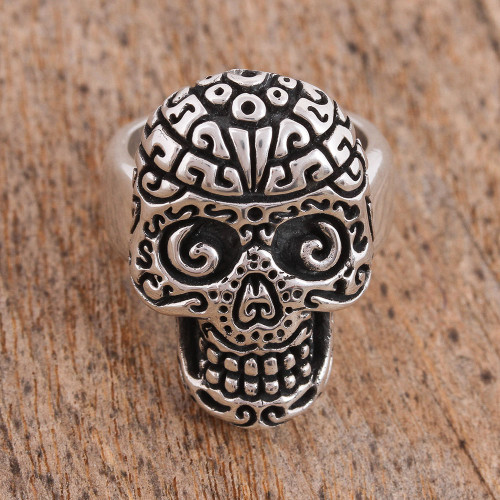 Handcrafted Sterling Silver Skull Cocktail Ring 'Skull Intrigue'