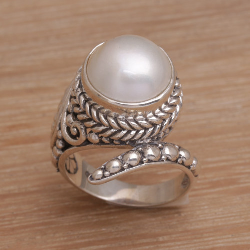 Handmade 925 Sterling Silver Cultured Pearl Snake Ring 'Coiled Asp'