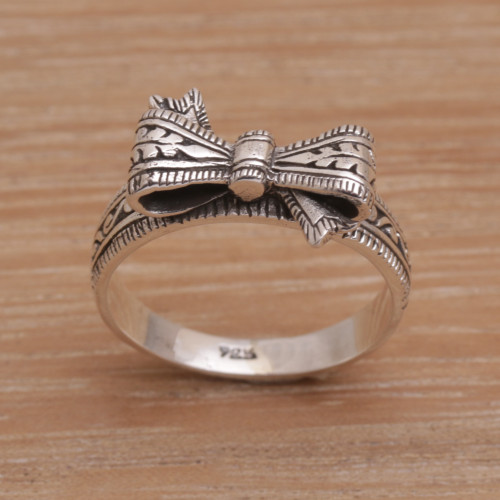 Balinese Handmade 925 Sterling Silver Bow Cocktail Ring 'Celuk Bow'