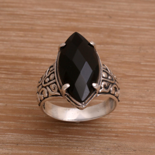 Onyx and Sterling Silver Cocktail Ring Handmade in Bali 'Enchanting Midnight'