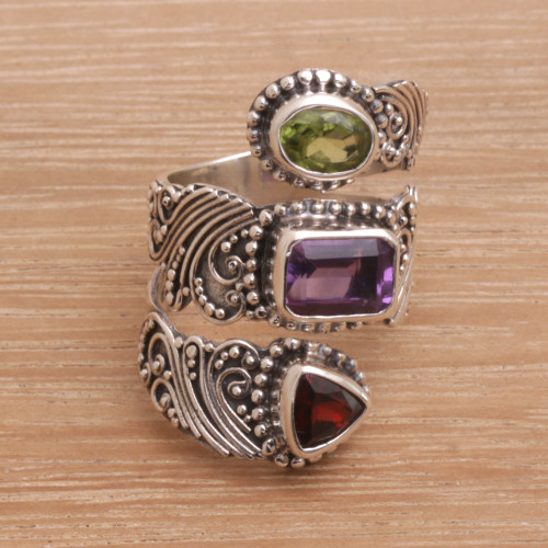 Multi-Gemstone and Sterling Silver Wrap Ring from Bali 'Elegant Trinity'