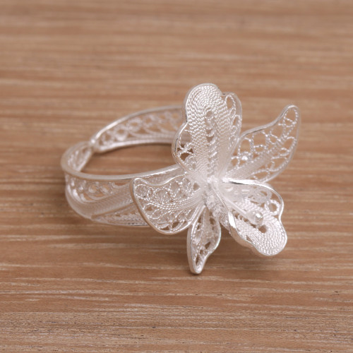 Filigree Sterling Silver Floral Cocktail Ring from Indonesia 'Jasmine Allure'
