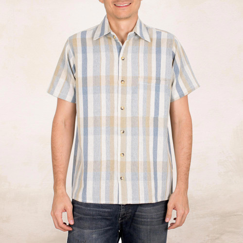 Men's Loom Woven Striped Cotton Shirt with Short Sleeves 'Noble Lines'