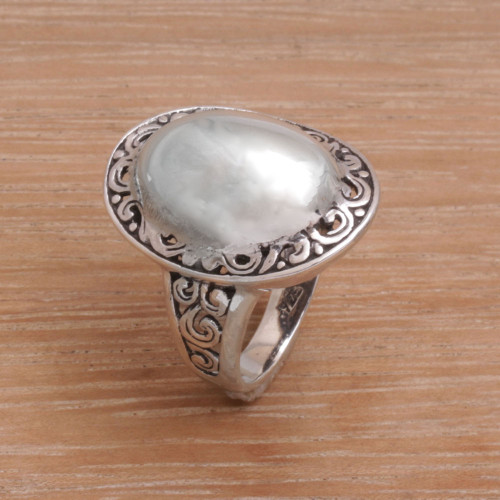 Sterling Silver Domed Ring with Balinese Scroll Work 'Silver Celebrated'