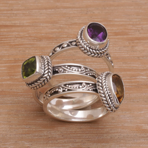 Multi-Gemstone Sterling Silver Stacking Rings Set of 3 'Perfect Prism'