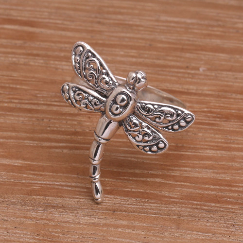 Sterling Silver Dragonfly Cocktail Ring Handmade in Bali 'Dance of the Dragonfly'