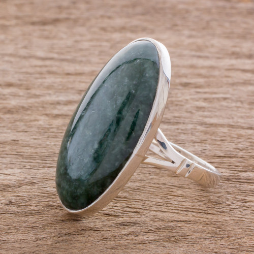 Oval Jade and Sterling Silver Cocktail Ring from Guatemala 'Dark Green Tonalities'