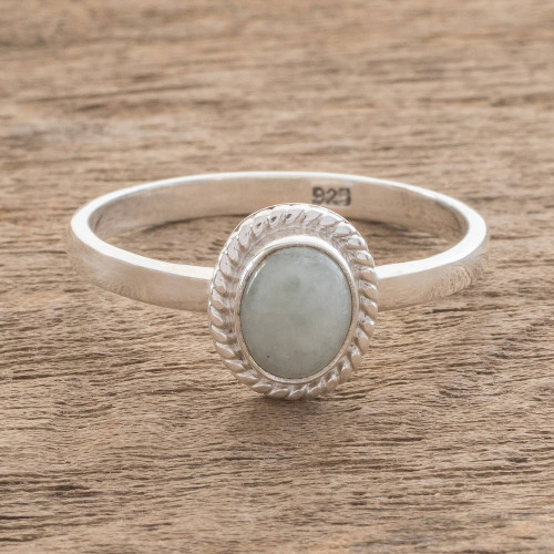 Apple Green Jade Solitaire Ring Crafted in Guatemala 'Oval Beauty'