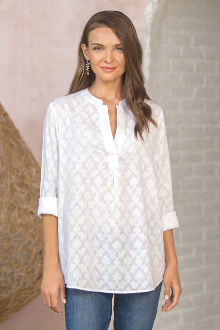 100 Cotton Long-Sleeved White Tunic 'Brocade Shadow'