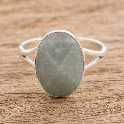 Handcrafted Faceted Jade Oval Sterling Silver Cocktail Ring 'Facet Fixation'