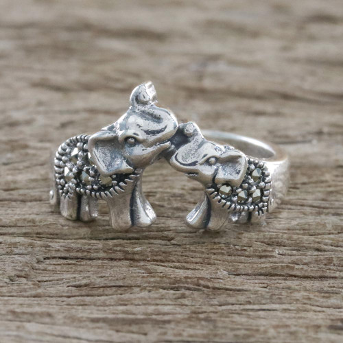 Sterling Silver and Faceted Marcasite Elephant Cocktail Ring 'Mommy and Me'
