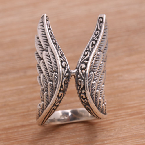 Handcrafted Sterling Silver Feathered Wings Ring 'Winged Glory'