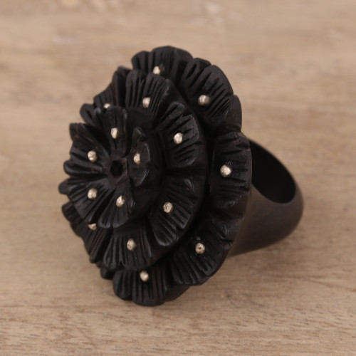 Hand-Carved Ebony and Sterling Silver Floral Ring from India 'Starry Glory'