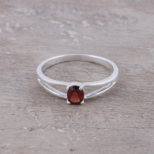 Natural Garnet Solitaire Ring from India 'Fiery Solitaire'