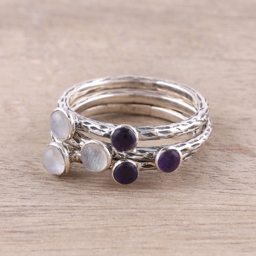 Three Rainbow Moonstone and Amethyst Stacking Rings 'Mystic Union'