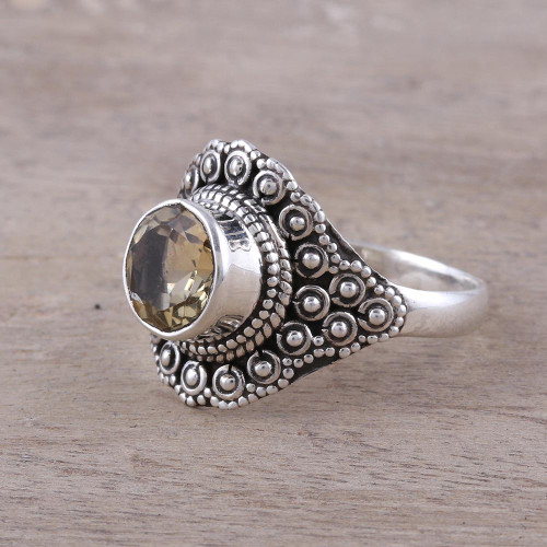 Contemporary Indian Sterling Silver Citrine Cocktail Ring 'Lemon Tree'