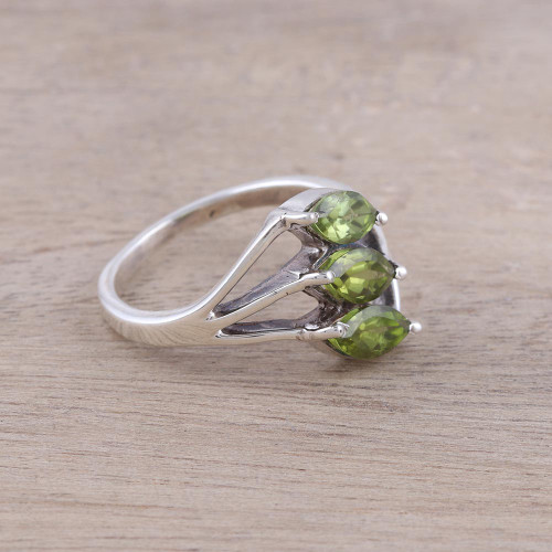 Green Peridot Leaf Trio Sterling Silver Multi-Stone Ring 'Sparkling Leaf Trio'
