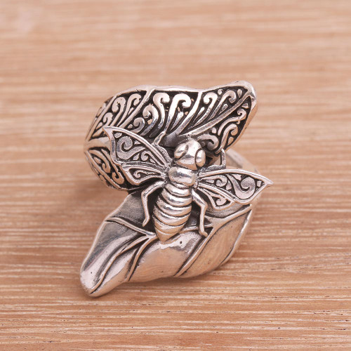 Sterling Silver Bee Cocktail Ring from Bali 'Bee Grove'
