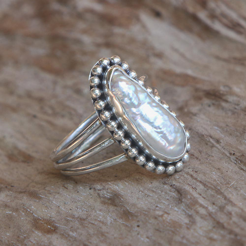 Biwa Cultured Pearl Sterling Silver Dot Motif Cocktail Ring 'Laut Princess'