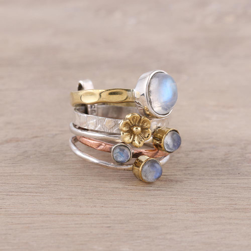Mixed Metals Floral Rainbow Moonstone Ring from India 'Rain Flowers'