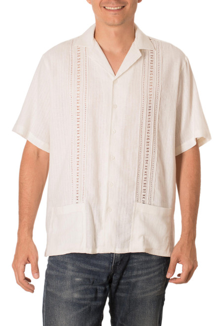 Men's Natural Cotton Guayabera Shirt with Pockets 'Handsome Lines in Natural'