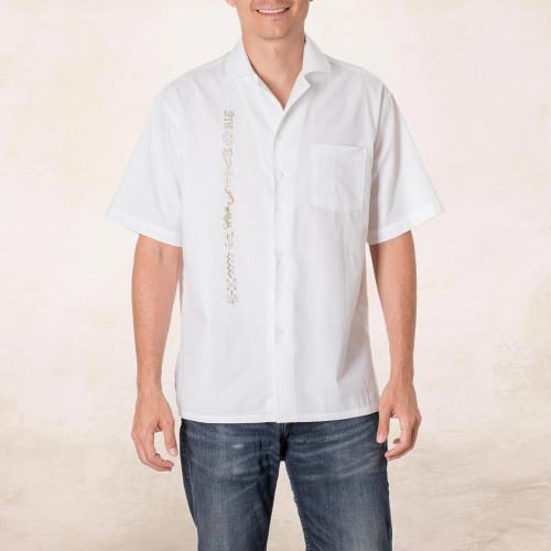 Embroidered Men's Cotton Guayabera Shirt from El Salvador 'Salvadoran History'