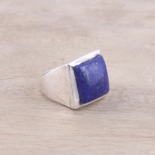 Modern Lapis Lazuli Ring Crafted in India 'Might'