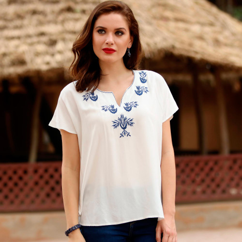 White Viscose Blouse with Embroidery from India 'Demure Beauty'