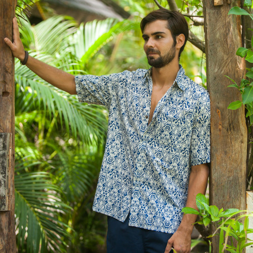 Men's Blue and Cream Batik Print Cotton Shirt from Bali 'Jepara Sky'