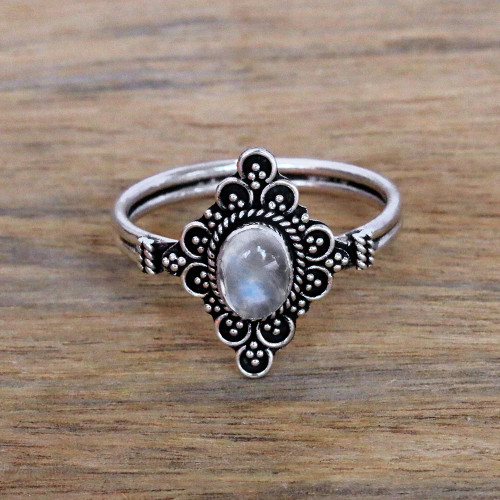 Handcrafted Moonstone Cocktail Ring from Bali 'Daydream Temple'