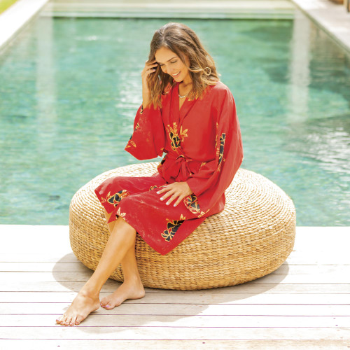 Crimson Rayon Robe with Black Floral Motifs from Bali 'Crimson Floral'