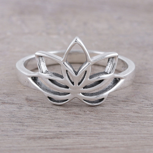 Sterling Silver Lotus Flower Cocktail Ring from India 'Graceful Lotus'